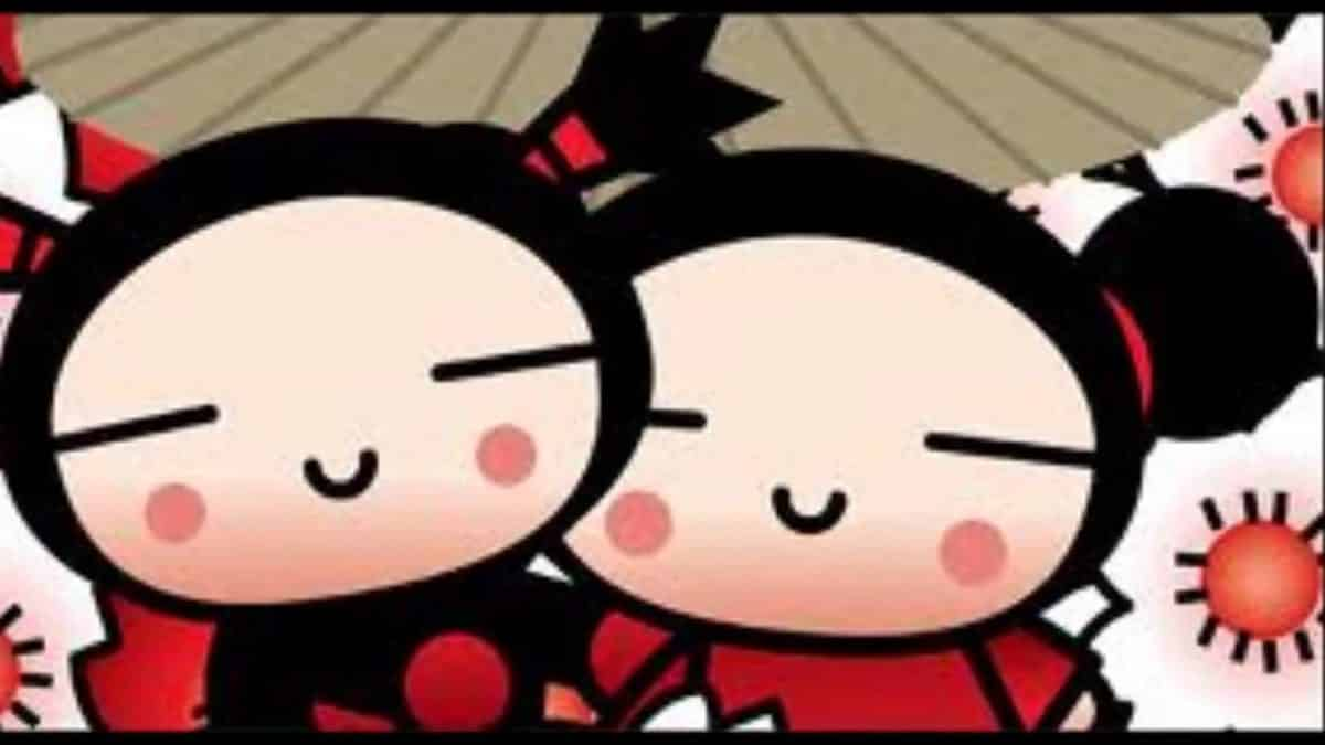 imágen de amor de pucca y garu bajo una sombrilla japonesa