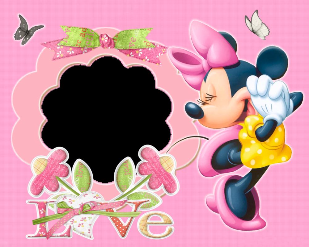 Imágen de amor de Minnie al lado de un arreglo que dice love