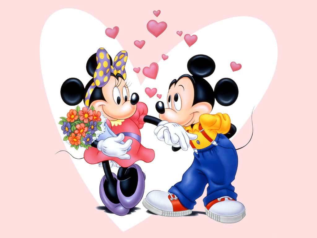 Imágen de amor de Minnie y Mickey cortejando con un ramo de flores