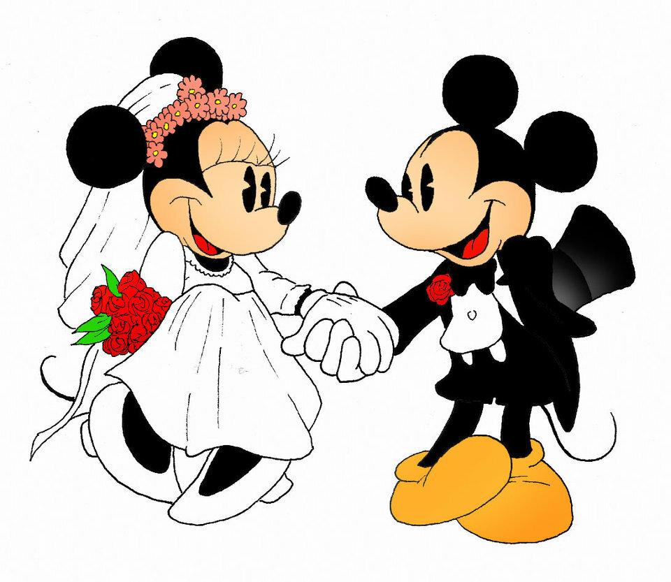 Imágen de amor de Minnie y Mickey listos para el matrimonio