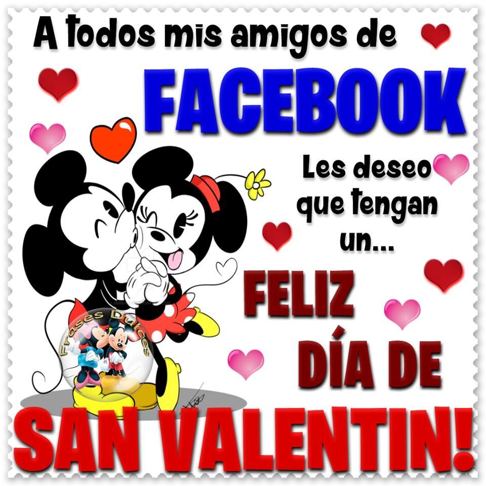 Imágen de amor de Minnie y Mickey para celebrar el dia de san valentín por Facebook