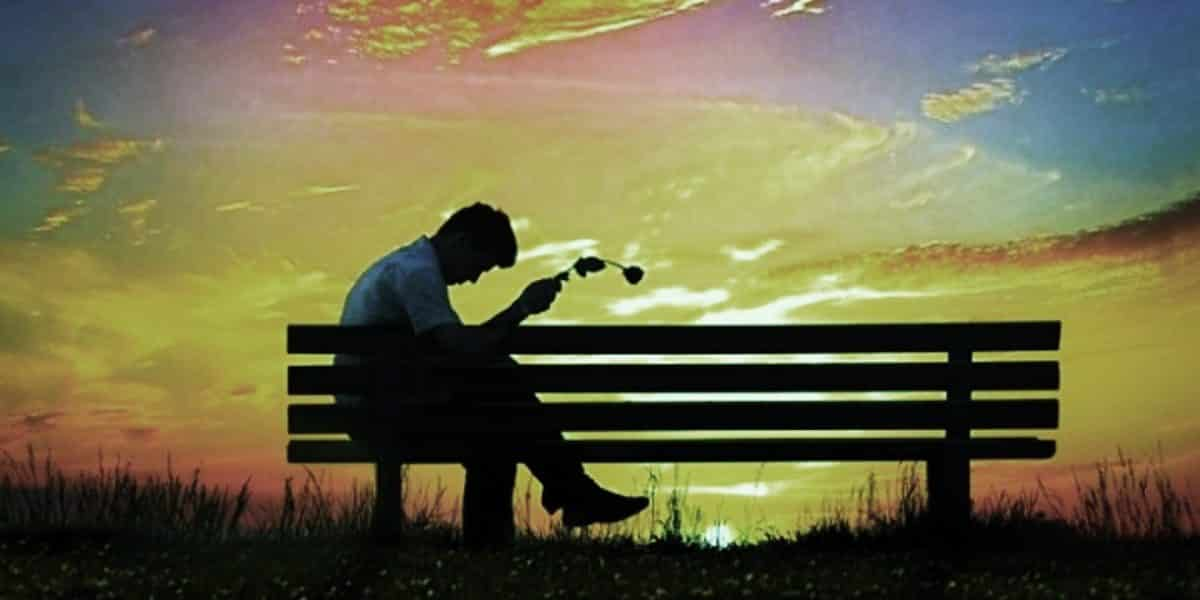 Imágen de amor despechado de un hombre con una flor marchita sentado en una banca al atardecer