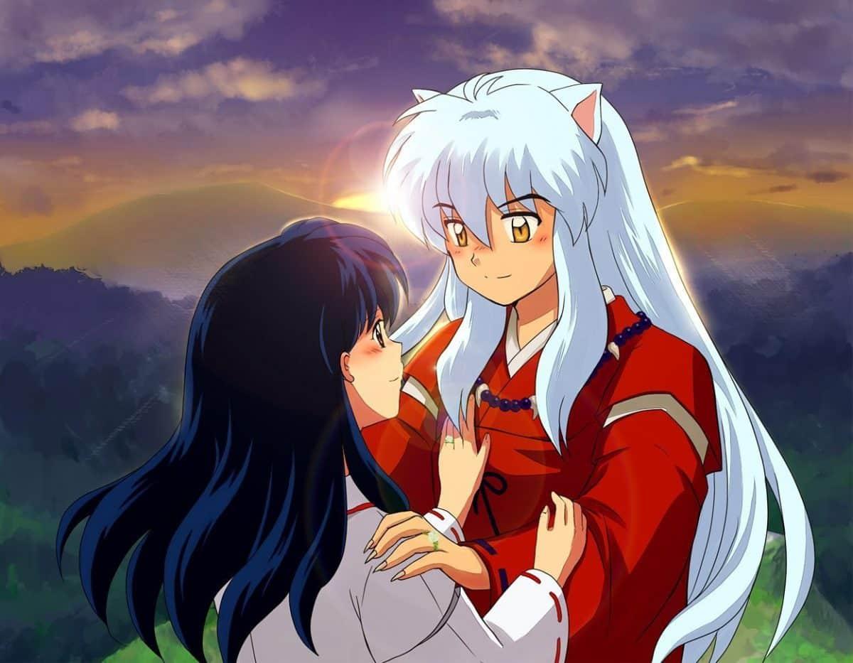 imagenes de amor anime inuyasha y kagome abrazados romanticamente