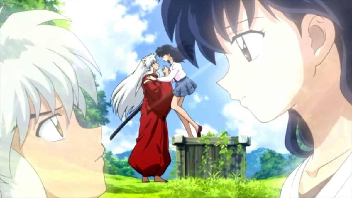 imagenes de amor anime inuyasha y kagome mirandose apasionadamente